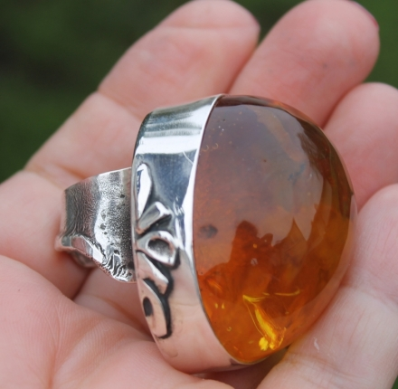 Cotron amber, ring, sterling silver