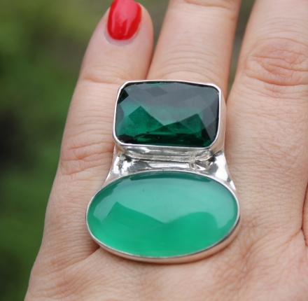 Chalcedone, quarc, ring, sterling silver