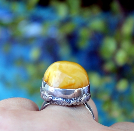 Amber, silver ring