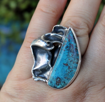 Chrysocola, ring, sterling silver