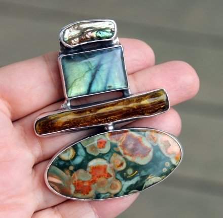 Amber, riolit,  pendant, sterling silver