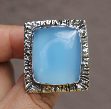 Chalcedone, ring, sterling silver