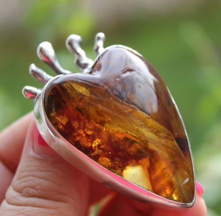 Amber, pendant, sterling silver
